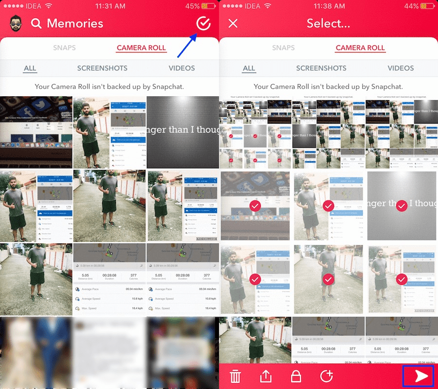 how to send multiple snapshots at once