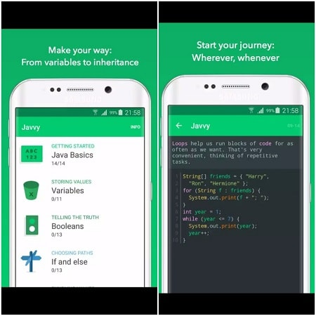 java learning apps - javvy