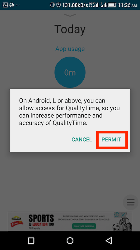Allow Usage access to QualityTime app