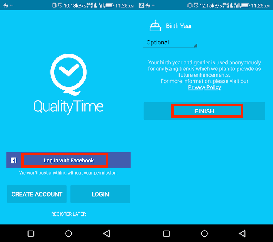 Create Account QualityTime app