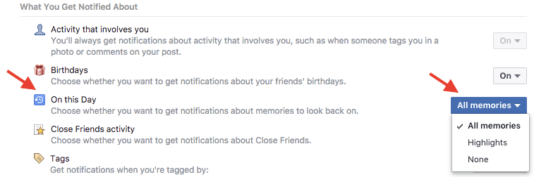 Facebook memories notifications from website