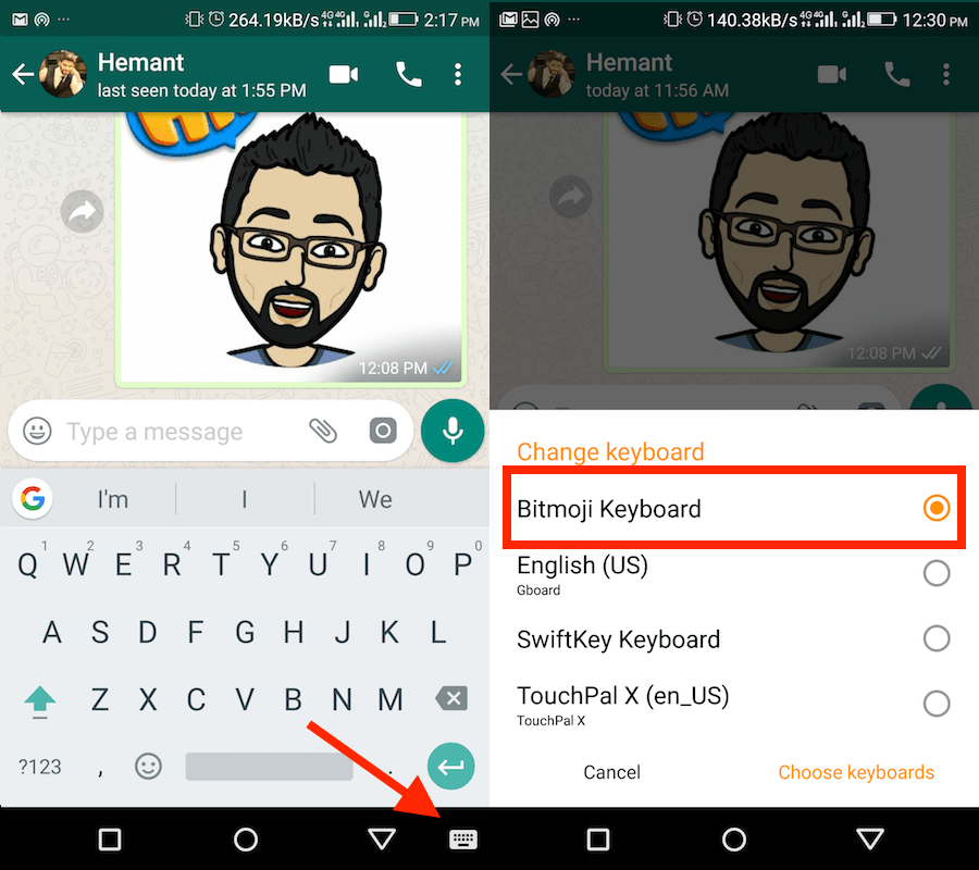 How to Link Bitmoji on WhatsApp Android