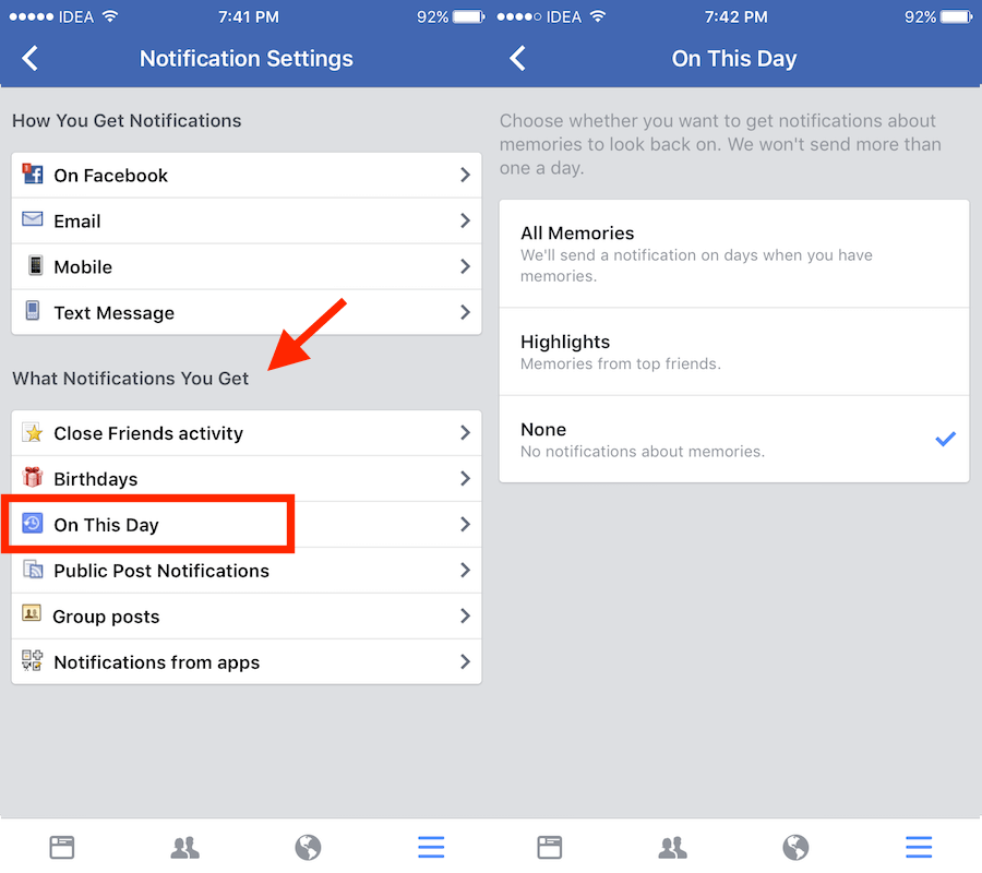 Turn on or off Facebook Memories notifications from iPhone app