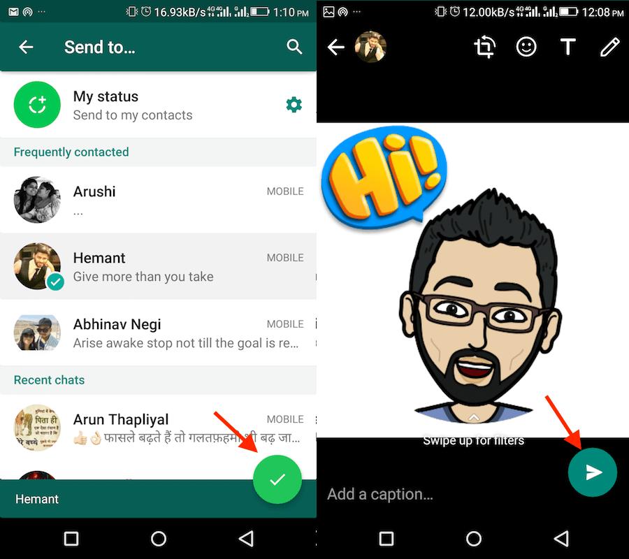 Use Bitmoji on WhatsApp