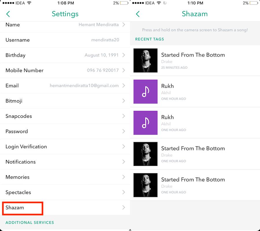 View Shazam History on Snapchat