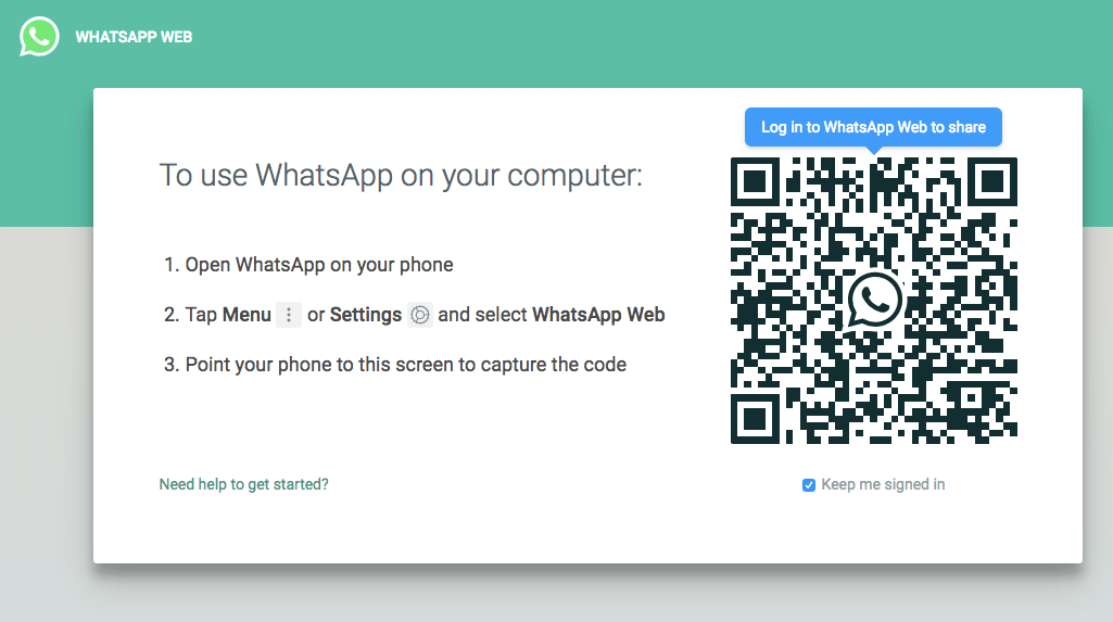 WhatsApp Web log in