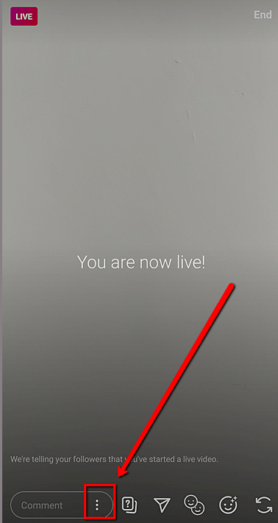 hide comments when streaming Instagram Live, step 1