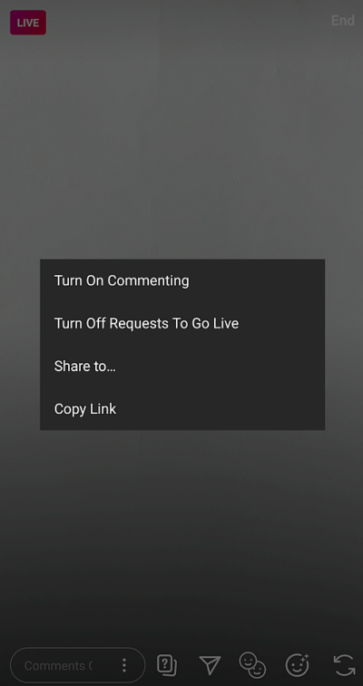 re-enable comments when streaming Instagram Live