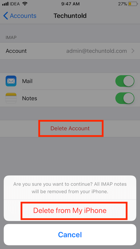 Delete Email accounts in iOS 11 on your iPhone or iPad