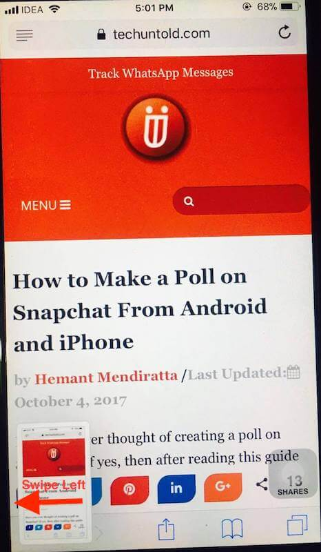 Turn Off iOS 11 Screenshot Thumbnail Previews