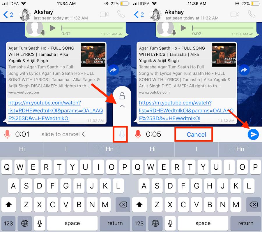 Hands-free audio recording on WhatsApp