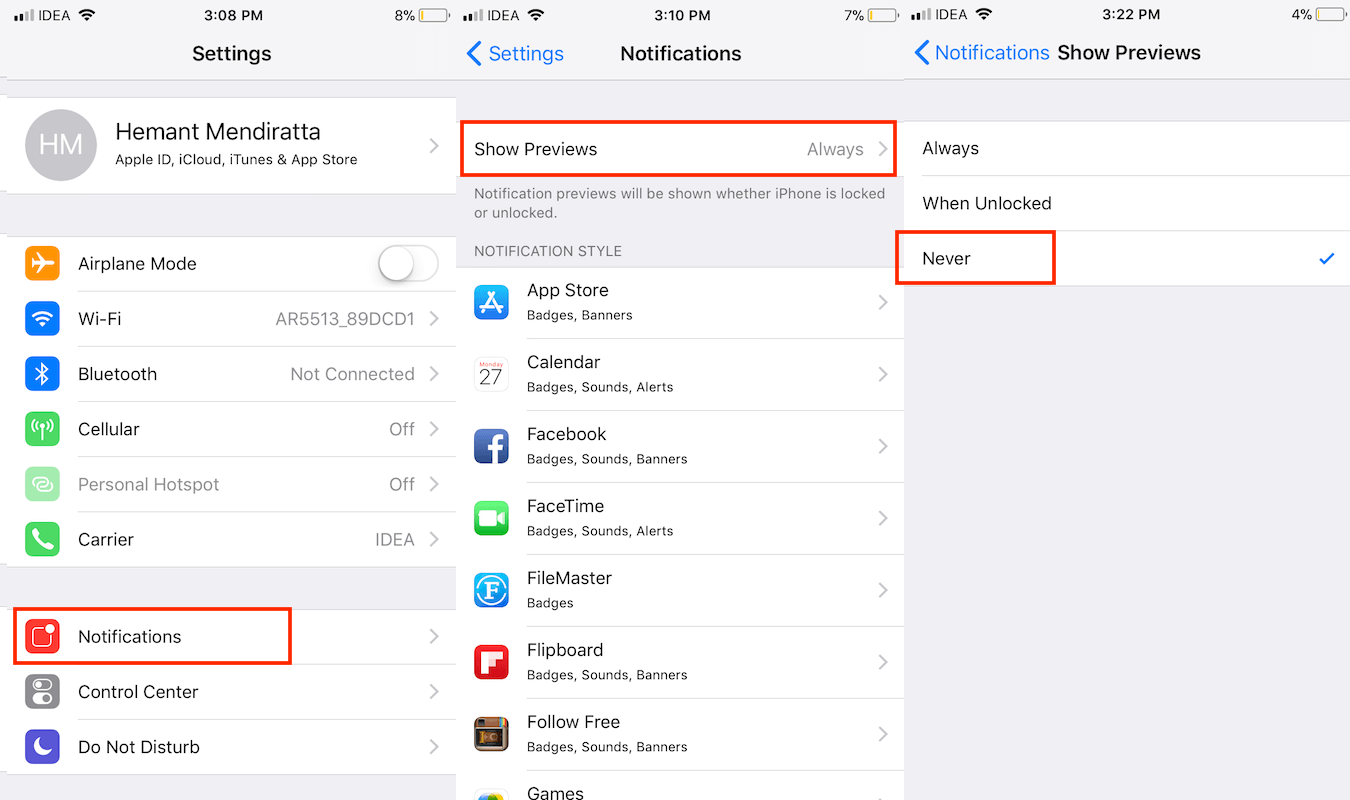 Hide Notification Previews For All Apps on iPhone