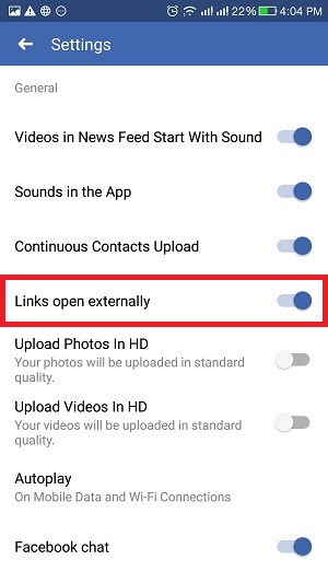 disable Facebook in-app browser - step 3