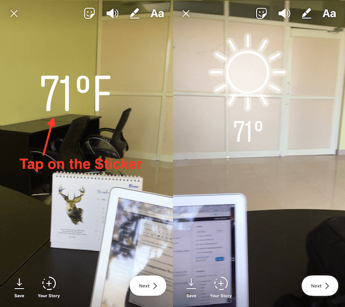 Add Temperature on Instagram Story