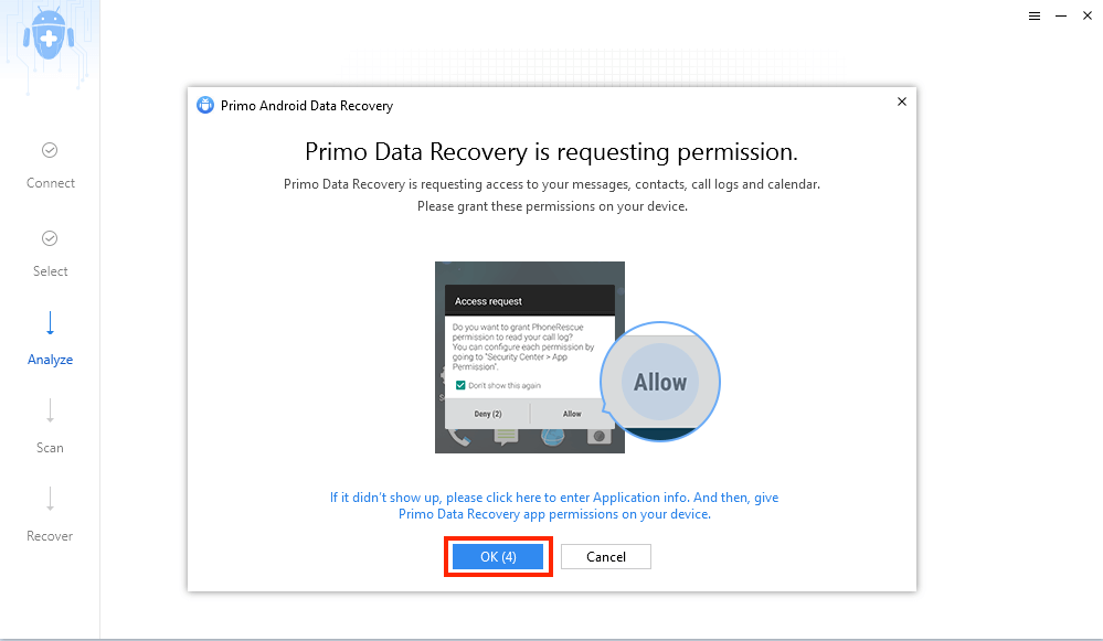 Grant Access to Primo Android Data Recovery