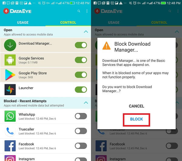 block system apps from using mobile data
