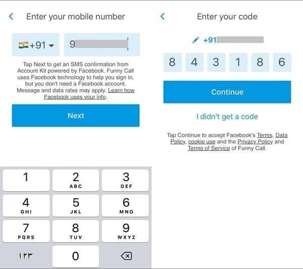 call voice changer ios app - otp verfication