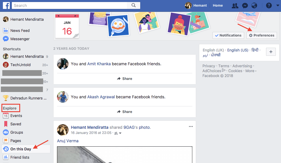 Facebook On This Day Preferences