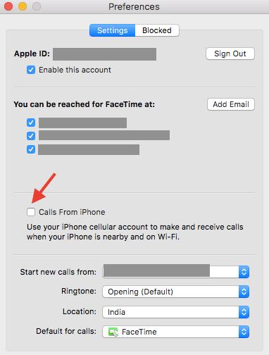 Stop iPhone calls on Mac