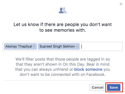 Stop seeing Facebook memories with particular friends