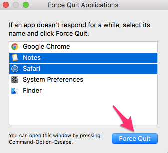 Force Quit on Mac Keyboard shortcut