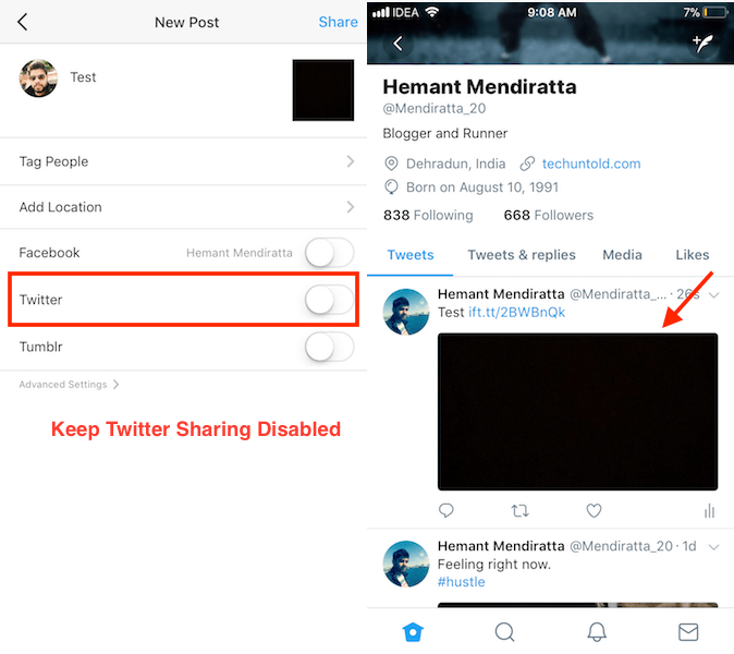 How to Share Instagram photos on Twitter with full picture