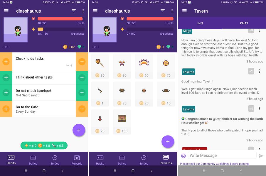 Best habit tracker apps- Habitica