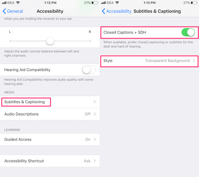 Subtitles and captioning iOS Settings
