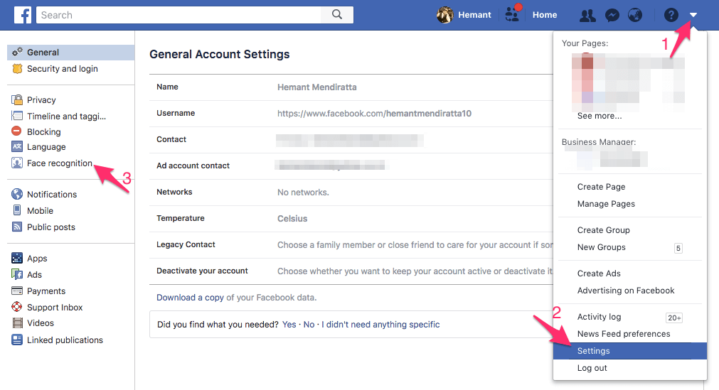 Turn off Face recognition on Facebook from website