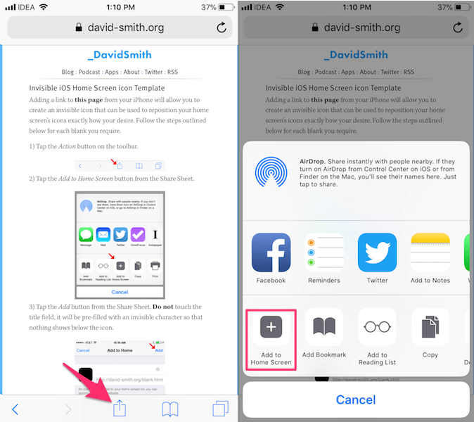 create blank app icons on iPhone