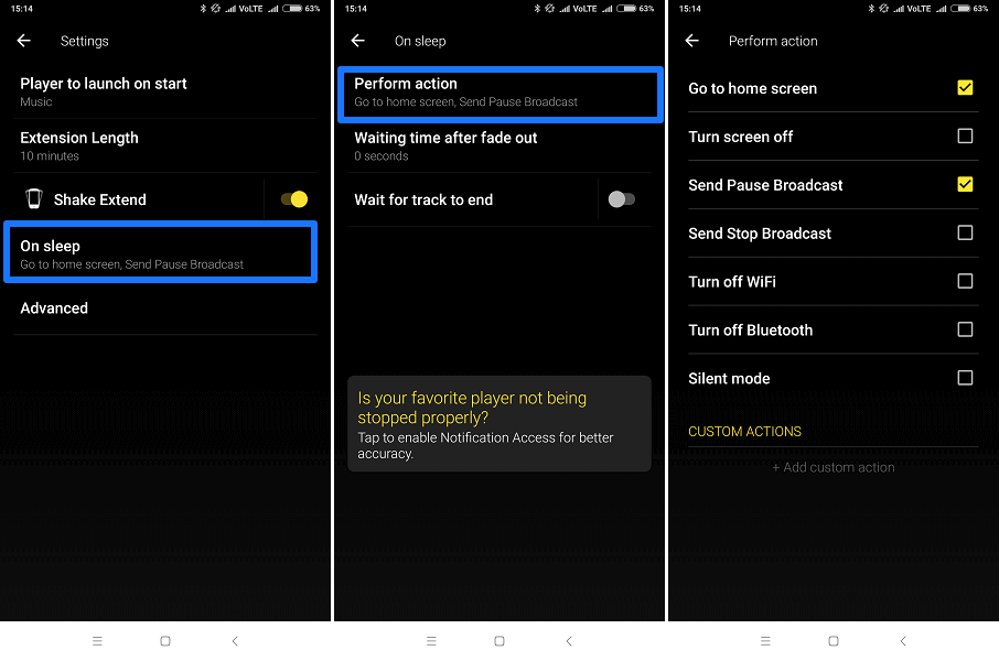 Actions to perform on sleep - Sleep timer app for Android