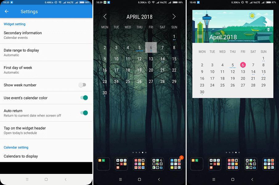 Best Android Calendar widget - Month