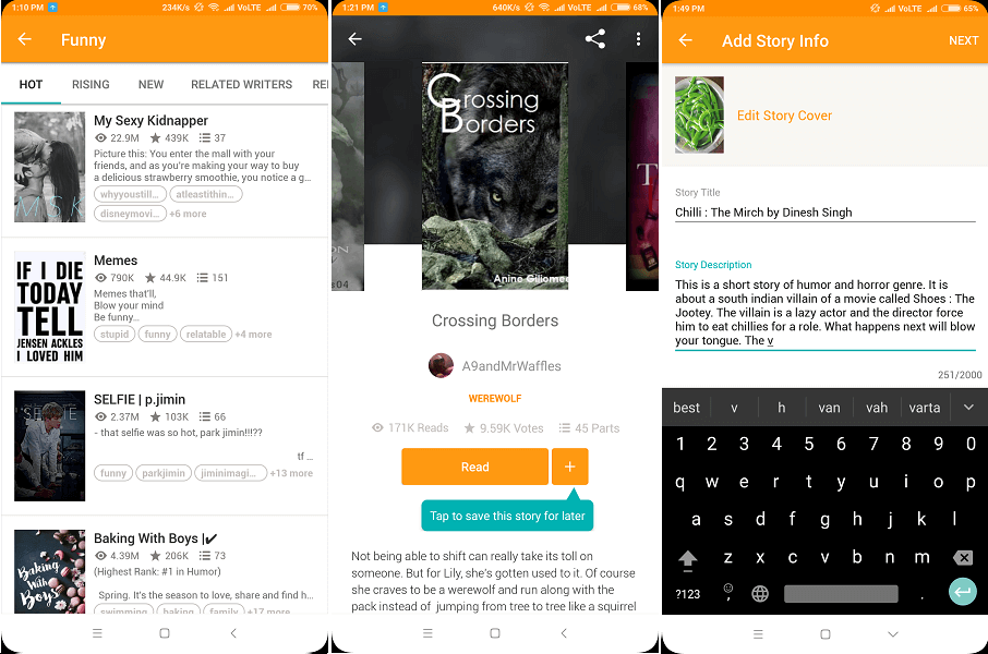 Best free app for books and stories - Wattpad