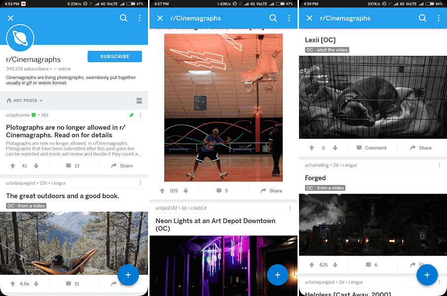 Best subreddit for pictures and cinemagraphs
