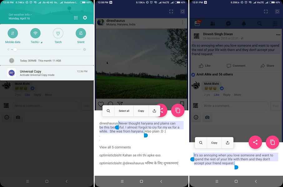 Copy Facebook, Instagram texts - Universal Copy