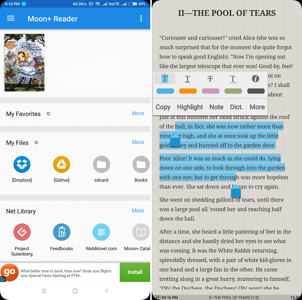 Good app to read eBooks - Moon+ reader