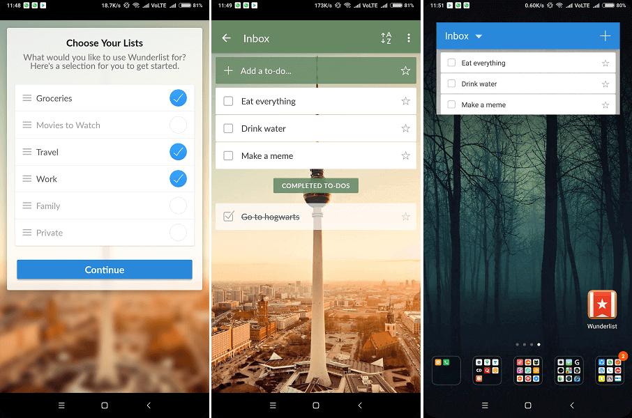 Home screen task widget - Wunderlist To-Do List & Tasks