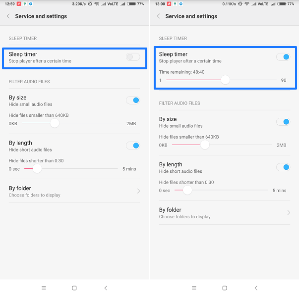 How to set music sleep timer Android