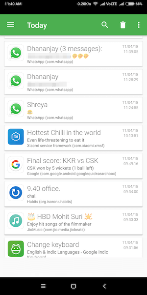 Recover notification log android - Notification history