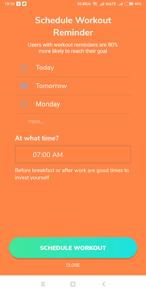 Set reminder -BetterMe app features