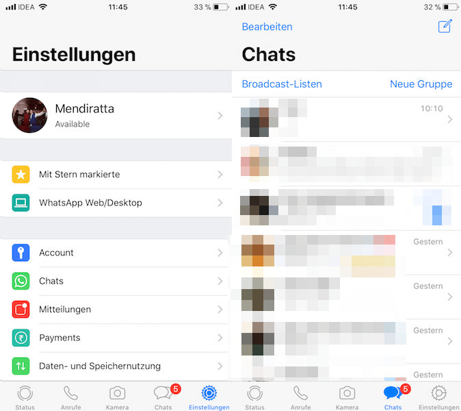 WhatsApp in German