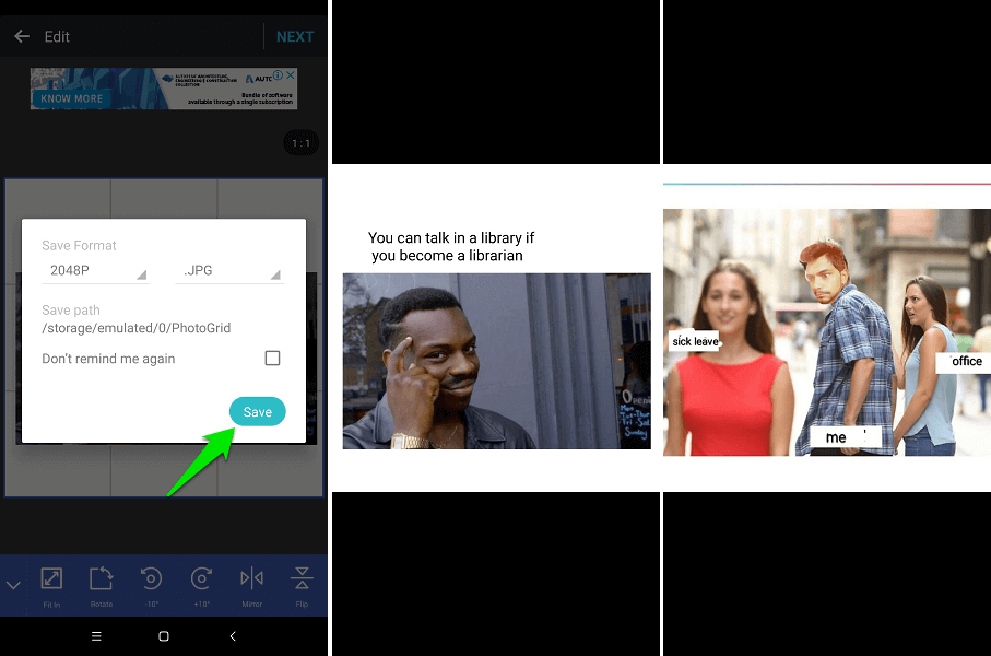 White background for memes - Photo Grid App