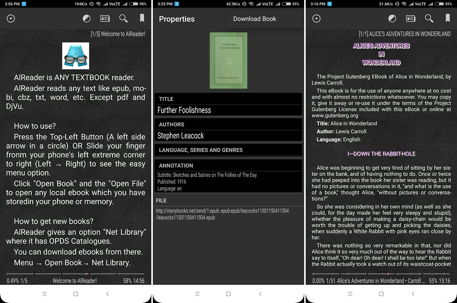 eBook reading app - AlReader