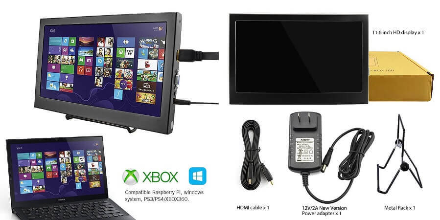 Elecrow 11.6 Inch 1920X1080 LED Display Moniter - smallest monitor for PS3 PS4 XBOX