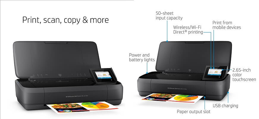 HP OfficeJet 250 All-in-One Portable - smallest Printers