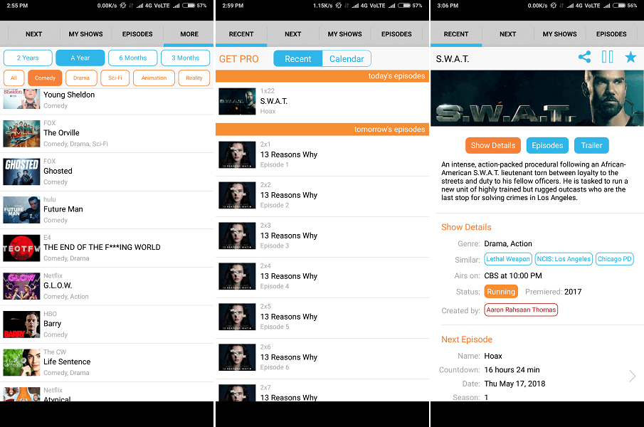 Next Episode- Best ios android app to track tv shows and movies