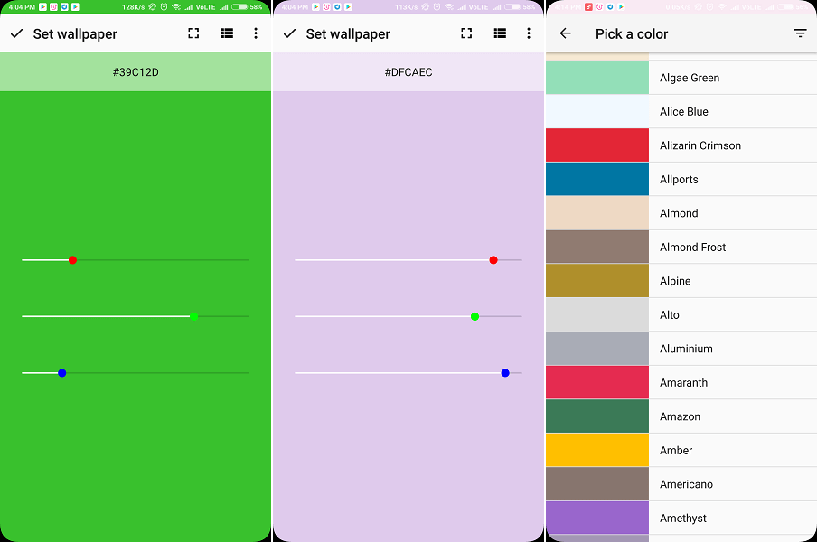 Smallest app to set background - RGB Color Wallpaper