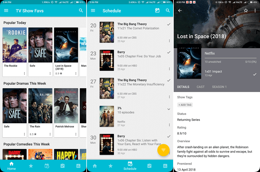 TV Show Favs - free tv shows tracker app android