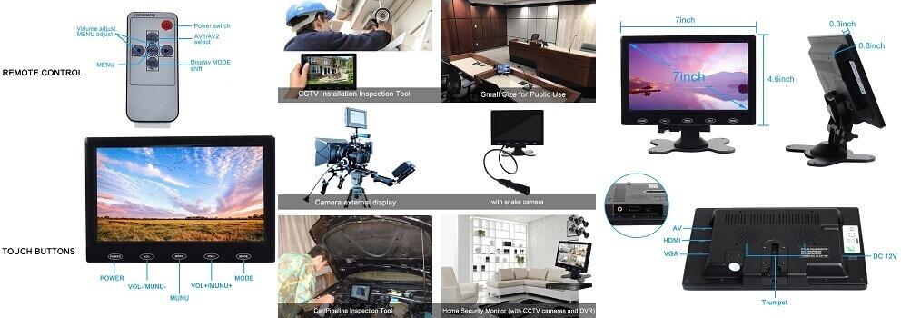 best mini monitor - Toguard 7 Inch Ultra-thin 1024x600