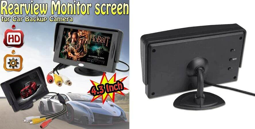 smallest monitor - Aketek 4.3 Inch LCD TFT Rearview Monitor screen for Car Backup Camera